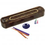 Carved Wood Incense Box with Sandalwood Incense Set